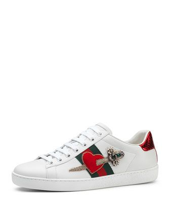 New+Ace+Pierced+Heart+Sneaker,+White+by+Gucci+at+Neiman+Marcus.