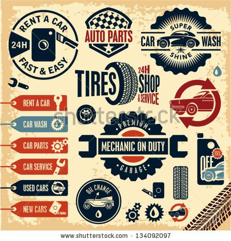 vintage+auto+emblems | Car service icons. Auto parts. Rent a car. Car wash. Retro vintage car ...
