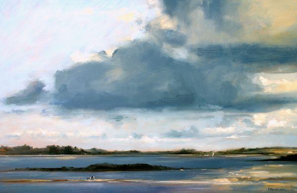 Blue Cloud, Mauritius - Oil on Board - Zarina Stewart-Clark, Landscape Artist