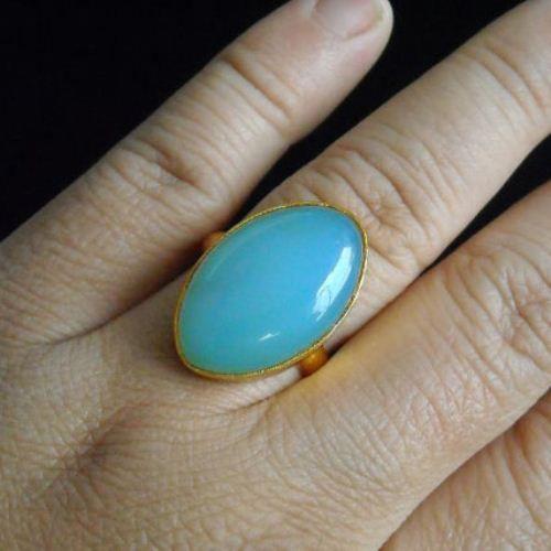 Sea foam blue chalcedony ring - vermeil gold ring - leaf design ring  #ChalcedonyRing #BlueChalcedonyRing #SeaFoamChalcedonyRing #VermilGoldRing #GoldRing #GoldChalcedonyRing #LeafRing #LeafDesignRing $69.00