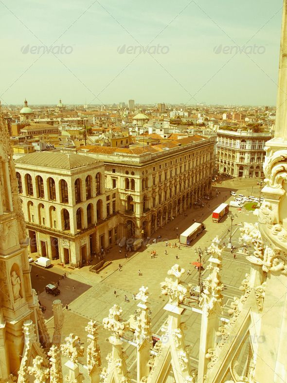 Retro looking Milan, Italy ...  Milano, architectural, architecture, building, center, centre, city, duomo, europe, european, italia, italian, italy, landmark, lombardia, lombardy, milan, monument, panorama, retro, roofscape, skyline, town, union, view, vintage