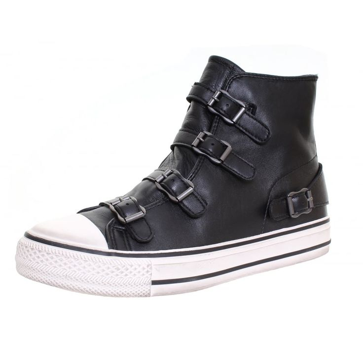 """ASH Virgin Ladies High Top Boot UK7 EU40 US9 Black. Height of sole measures 2.5cm/1"""". Leather with five silver adjustable buckles. Rubber sole. Canvas lined. Side zip fastening."""