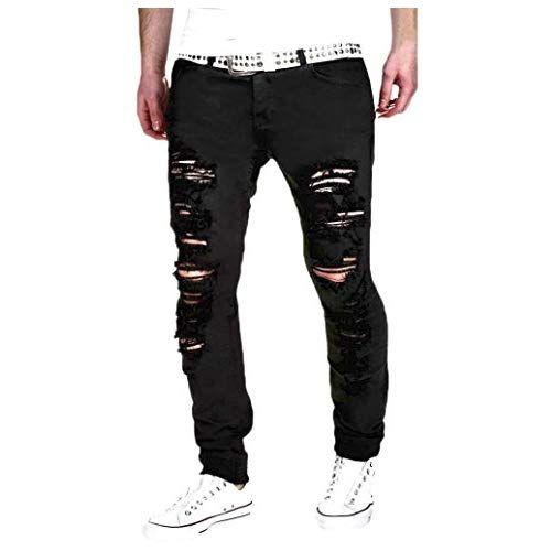 2dcfe5365a69 SOMESUN Noir Blanc Jeans Skinny DéChiréS Extensible pour Hommes DéChiré Slim  Fit Denim Trou La Personnalité