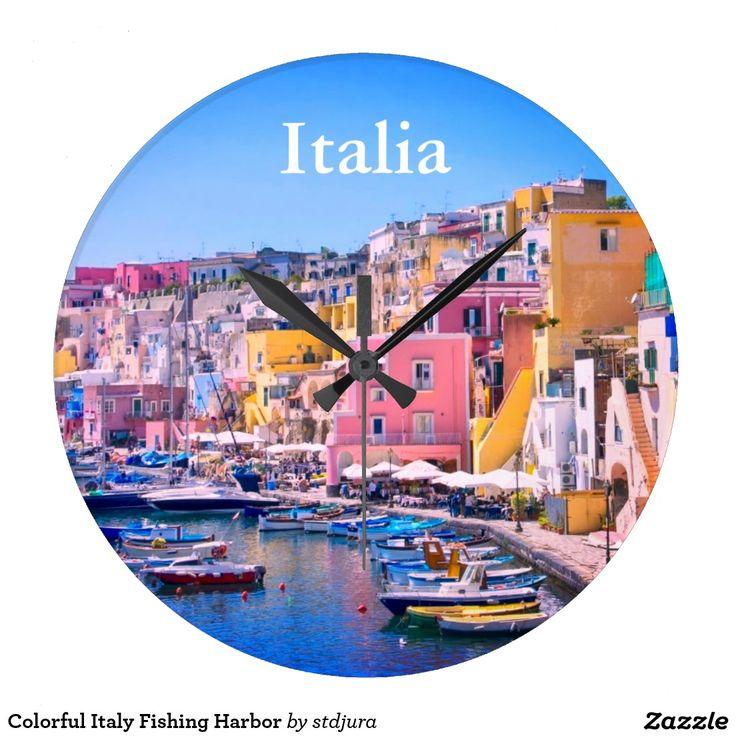 Colorful Italy Fishing Harbor Large Clock  #Colorful #Italy #Fishing #Harbor #Large #Clock #time #watch #italia #ischia #zazzle