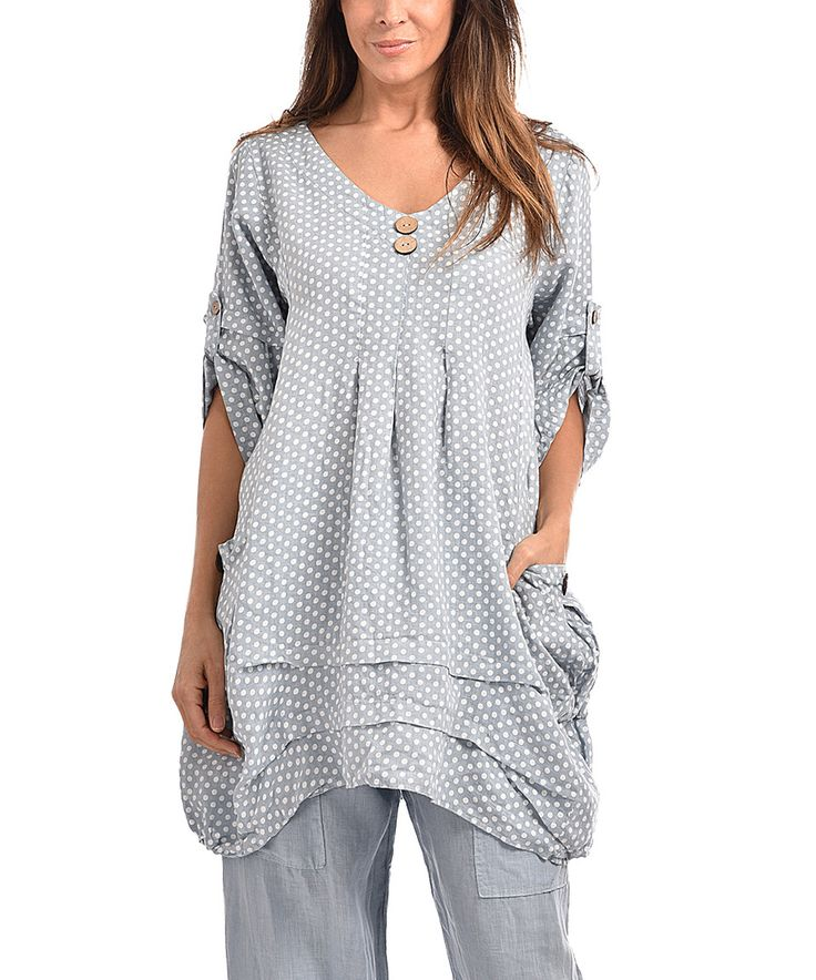 Couleur Lin Sky Blue Ruffle Hem Linen Tunic  Plus Too by Couleur Lin