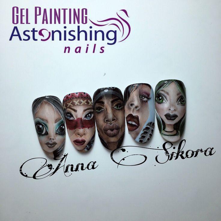 Faces gel painting nail art