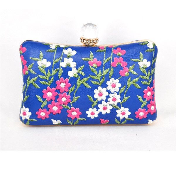 Blue Clutch Bag Print White Red flowers Women Evening Chain pochette Purse Diamond Lock Wristlets Bride Shoulder bag