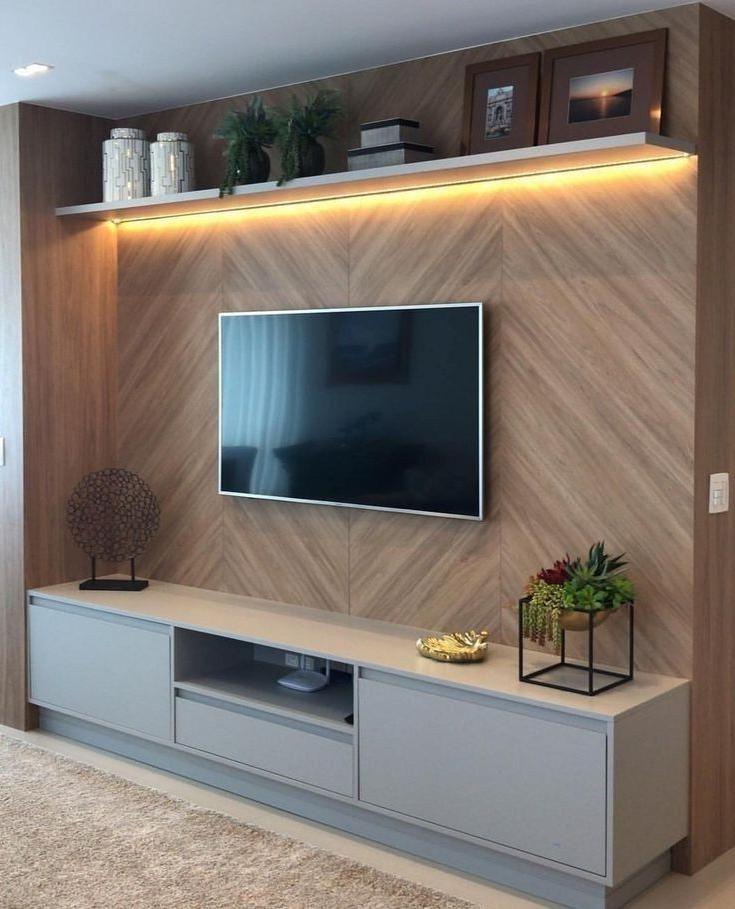 Moderne Et Minimaliste Tv De Mur De Salle De Sejour Decoration Idees En 2020 Idee Deco Chambre Moderne Meuble Tv Mural Design Idee Amenagement Salon