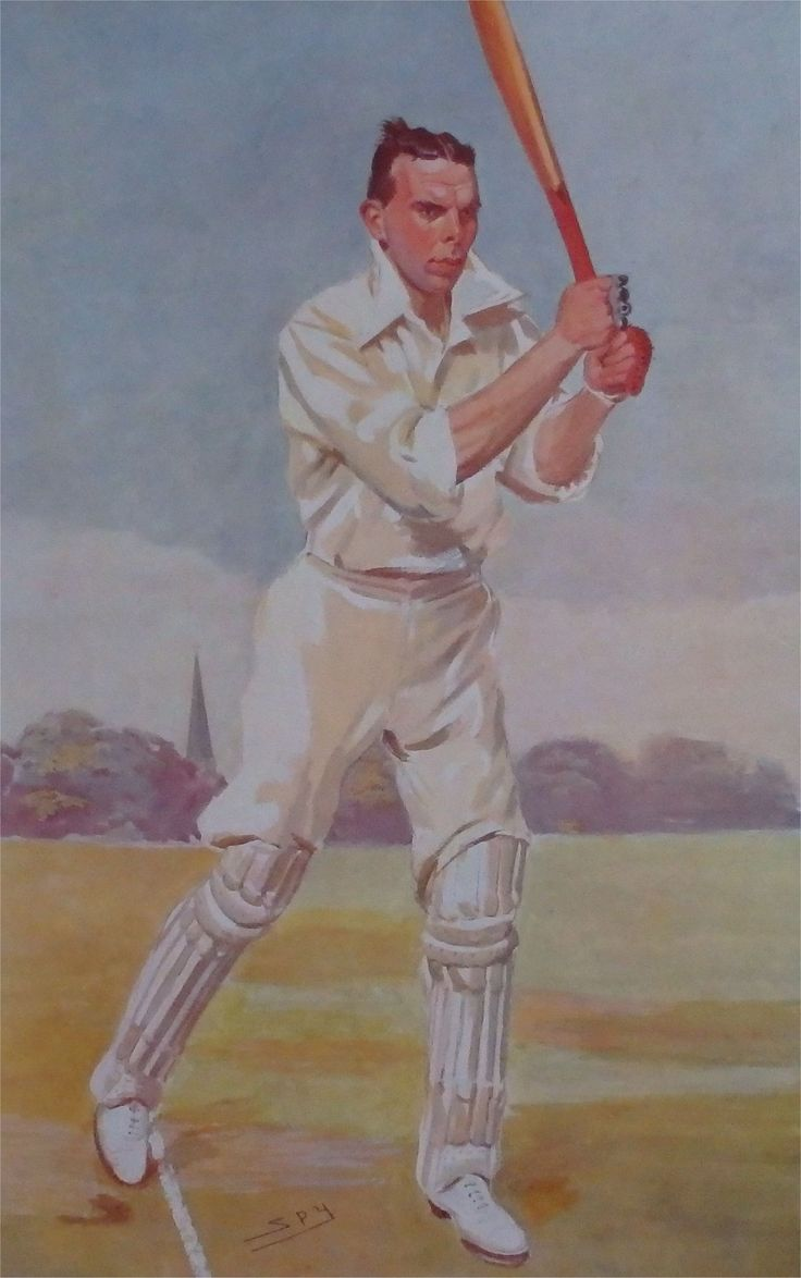 The Revd Frank Gillingham, drawn here in his cricketing whites, was among other things the BBC's first ball-by-ball commentator on the sport. Gillingham's reputation as a fine preacher was significant in earning him this position. However, his cricket commentating career never took off and was largely met with indifference until it ended after infuriating Lord Reith, BBC Director General, by filling time during a rain break at The Oval reading from advertisements scattered around the ground.