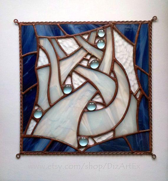Abstract Stained Glass Panel. Pendant. Mini-vitrage. Winter home decor. Handmade. DizArtEx.