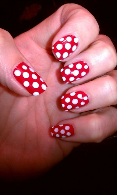 mini mouse mani - for my trip to Disney World.  red polish dotted with white using a dotting tool.