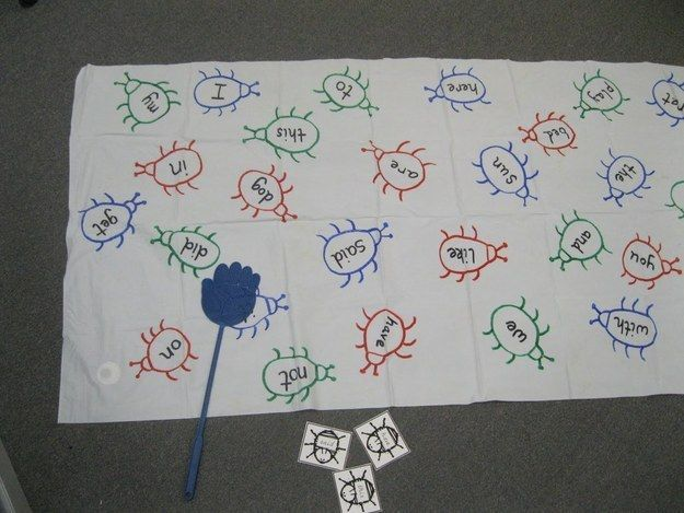 Work on sight words with this easy reading recognition game.   19 Ridiculously Simple DIYs Every Elementary School Teacher Should Know