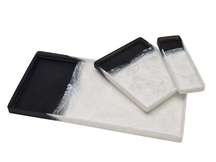 Martha Sturdy rectangle trays in black and white dual pour. Available at the Martha Sturdy Gallery or email gallery@marthasturdy.com.