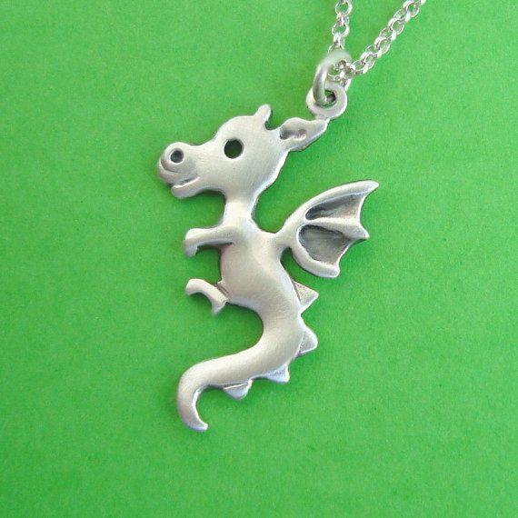 Dragon Necklace Jewelry sterling silver Teen Kids door zoozjewelry