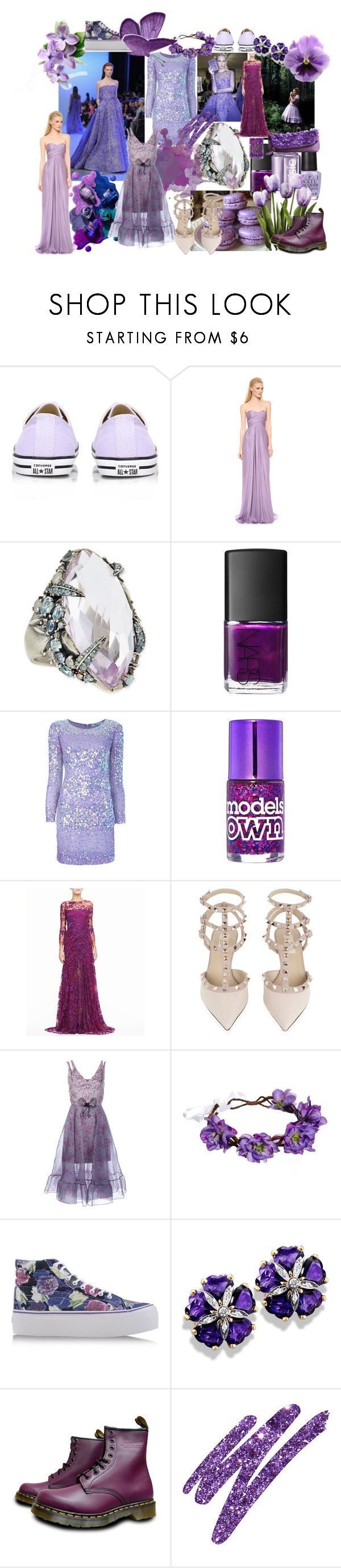 """Purple Haze"" by k8martyeve ❤ liked on Polyvore featuring Elie Saab, Converse, Reem Acra, Alexis Bittar, NARS Cosmetics, Blumarine, Monique Lhuillier, Valentino, Christopher Kane and Rock 'N Rose"