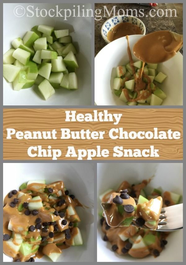 This clean eating dessert recipe for Healthy Peanut Butter Chocolate Chip Apple Snack is great for those afternoon cravings!