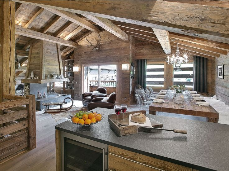 Cabin style, countertops, open concept, exposed beams