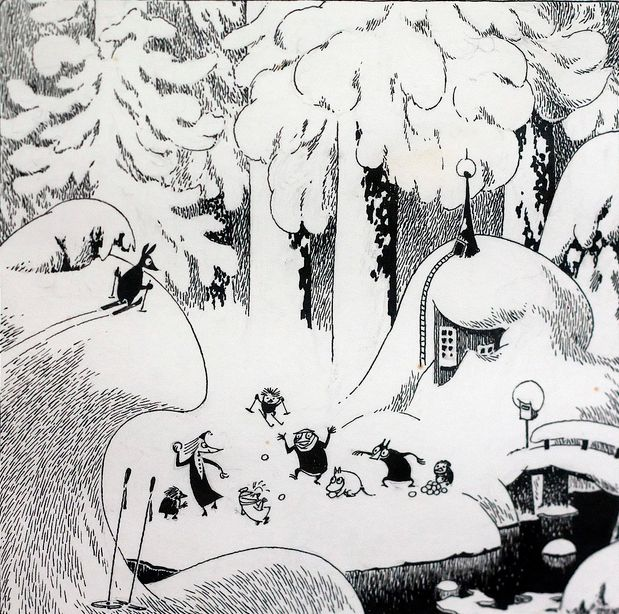 Tove Jansson black and white Moomin ink illustration