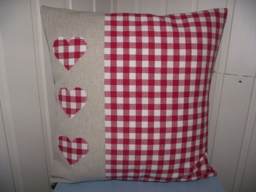 """HEART APPLIQUE CUSHION COVER WITH LAURA ASHLEY RED GINGHAM  NATURAL LINEN 16"""""""