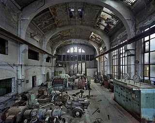 Inside an abandoned factory.