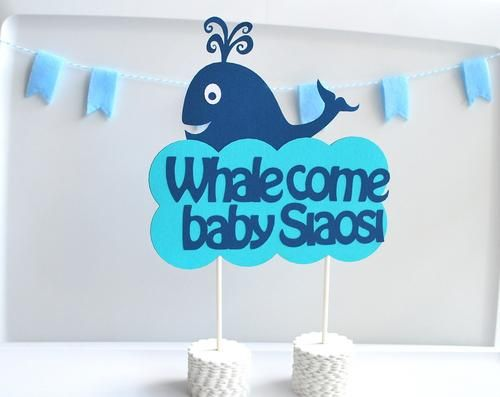 Whale come baby party Centerpiece - Personalized welcome Baby shower Centerpiece, A291 | MariaPalito - Toys on ArtFire