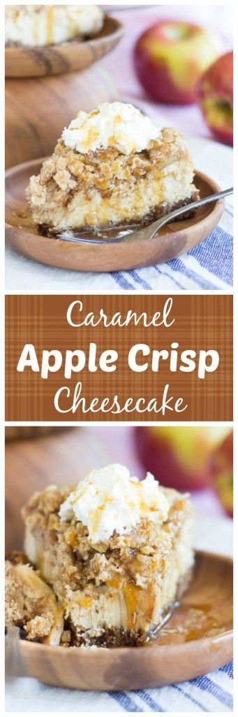 Apple crisp baked into a creamy and rich cheesecake. With an oatmeal cookie crust, rich cheesecake filling topped with sweet, cinnamony apples, and a boatload of oat streusel on top!