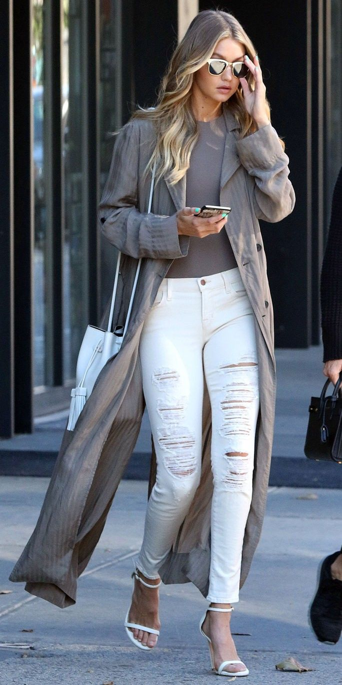 Winter white distressed jeans