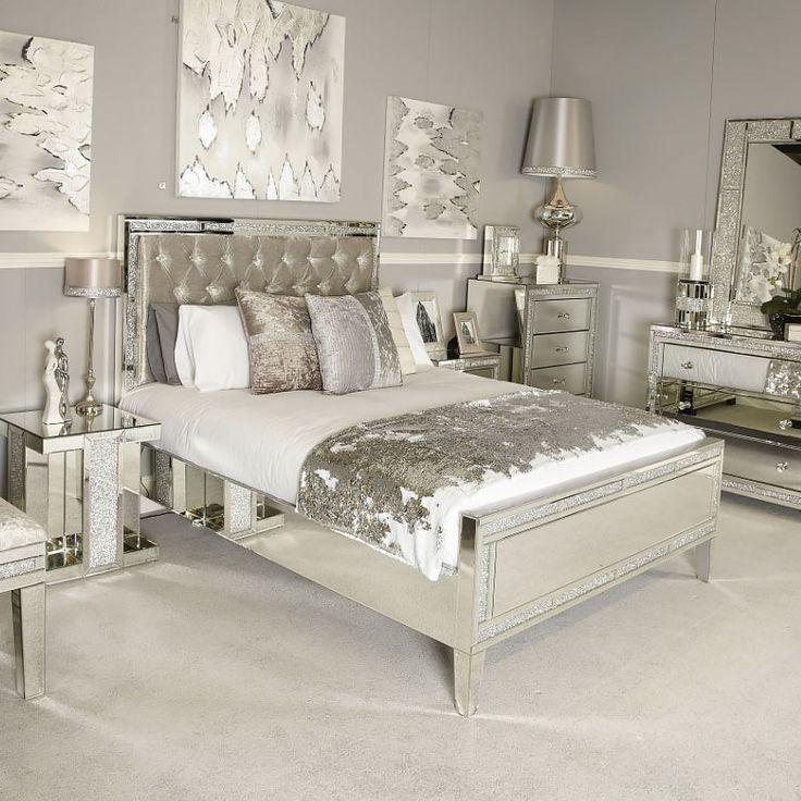 diamond glitz mirrored king size bed in 2020  mirrored
