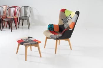Patchwork Chair + Ottoman image 1