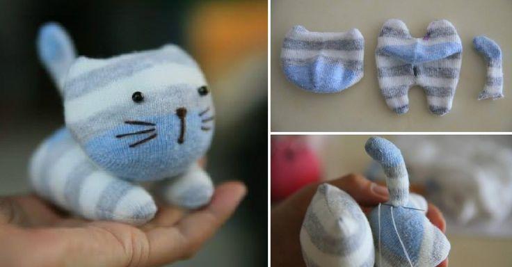 Návod jak ušít roztomilé plyšové kočičky ze starých ponožek