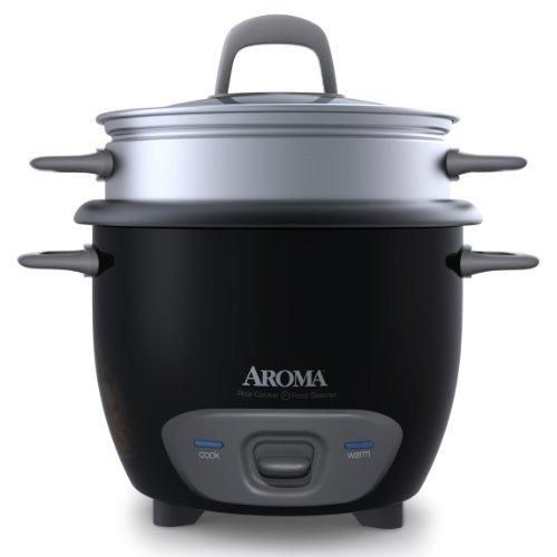 Aroma Housewares 6-Cup (Cooked) Pot-Style Rice Cooker and Food Steamer Black ARC-743-1NGB