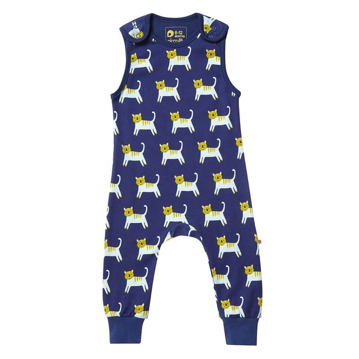 Piccalilly Unisex Short Sleeve Baby Bodysuit Navy Blue Tiger Organic Cotton Boy Girl
