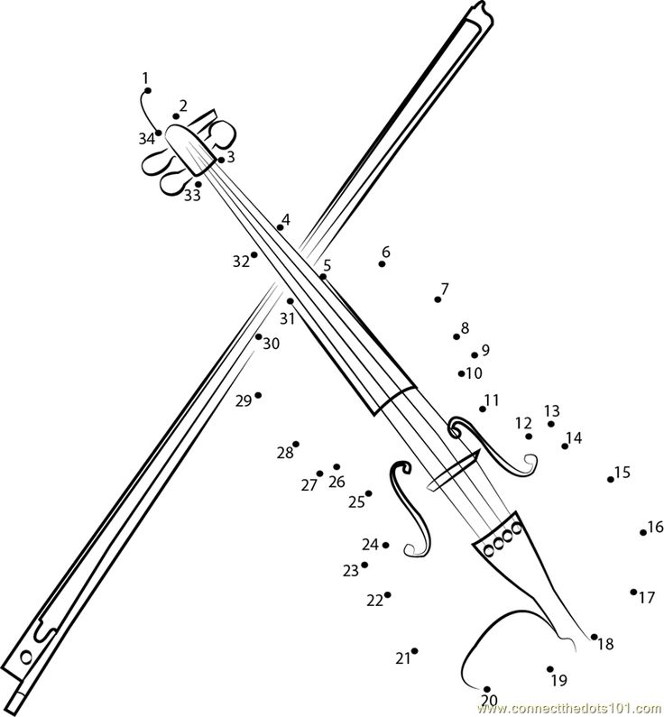 German Maple Violin dot to dot printable worksheet - Connect The Dots