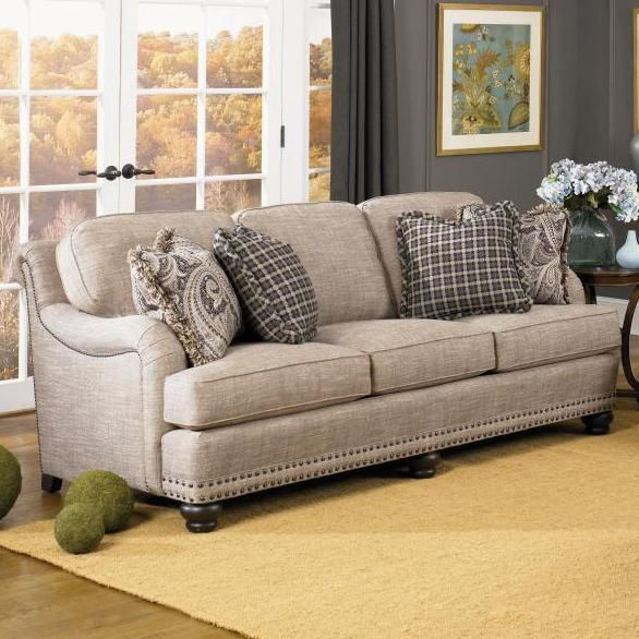 388 Sofa by Smith Brothers English sofa with English arms, nail head trim at Saugerties Furniture Mart