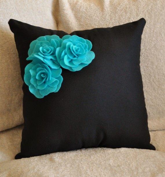 decorative pillow turquoise felt rose trio on black