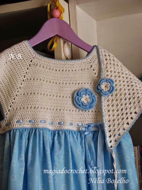 Magia do Crochet: Vestido com encaixe em crochet e lenço para o cabelo