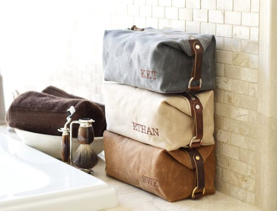 NO. 345 Groomsmen Gift, Personalized Men's Toiletry Bags, Wedding Presents, Made in the USA Dopp Kits, Waxed Cotton Canvas and Leather