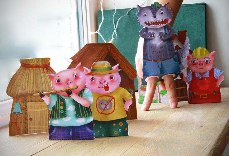 Paper toy, The Three Little Pigs, Finger puppets,  paper theatre, craft for kids, digital download,printable kids gift, printable for kids by MyWonderWonder on Etsy
