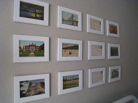 framed postcards from around the world could add color small ones need color