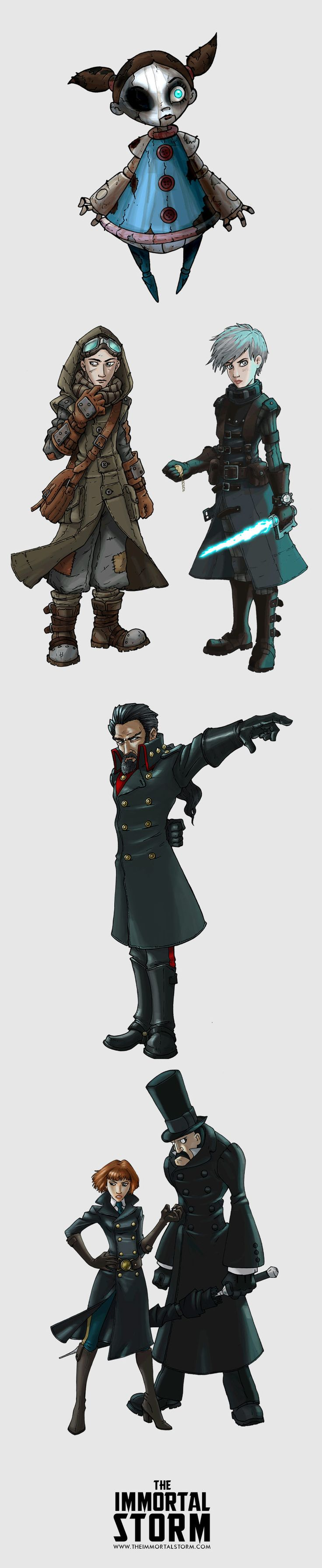Character concept illustrations from The Immortal Storm by S.D. Wilkes.  Left to right: Ember, Kite Nayward, Fleer Nightborn, Shelvocke, the Corrector and the Umbrella Man.