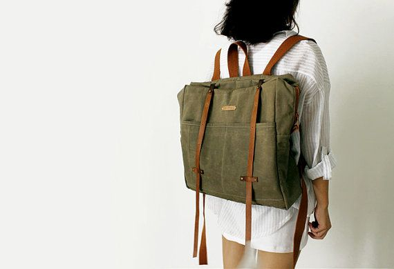 Cow Leather Waxed Canvas Backpack BACKPACK Women's by SoBag1989, $119.00