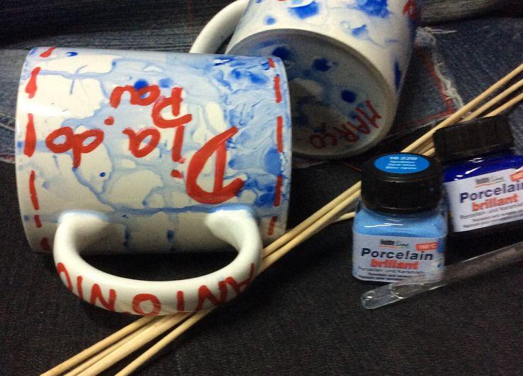 Técnica de marmoreado com tintas de porcelana