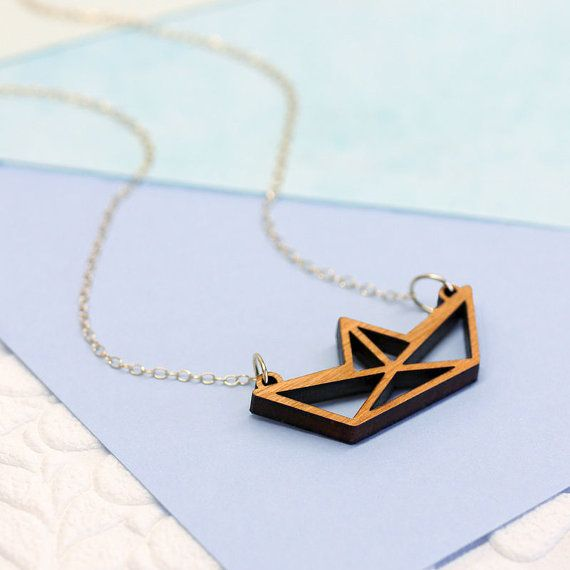 Wooden Paper Boat Necklace, Laser Cut Necklace, Cutout Pendant. Quirky Necklaces, Geometric Wood Necklace, 3D Origami pendant, Design gift