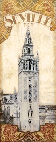 Spain Destinations  Giralda Tower 8x 20 by TinaChadenDesigns, $13.99