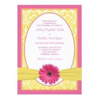 Pink And Yellow Wedding Theme | Pink Yellow Gerbera Daisy Wedding Reply Card Announcement from Zazzle ...