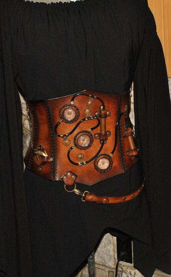 steampunk Leather corset von LesSoeursdArmes auf Etsy