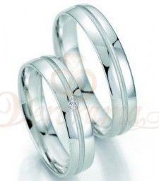 Βέρες γάμου λευκόχρυσες με διαμάντι breuning 7037-7038