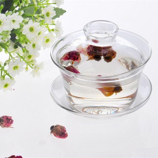 Прозрачное Стекло Чашка-Стекло Gaiwan Стекла Чайный Сервиз Чашка виды Ручной Жаропрочных Цветок Чашка Чая(China (Mainland))