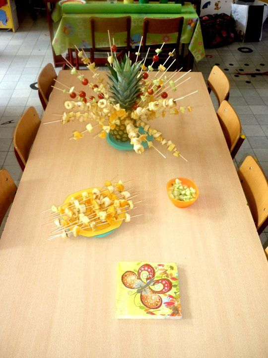 Fruit en groenten saté's maken volgens patroon.  Thema gezonde voeding  5-jarigen