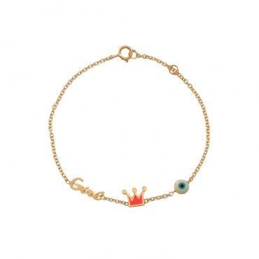 Παιδικό βραχιόλι για κορίτσι ροζ χρυσό Κ9 με τη λέξη «Girl», κορώνα από ροζ σμάλτο και ενσωματωμένο μάτι | Παιδικά κοσμήματα ΤΣΑΛΔΑΡΗΣ στο Χαλάνδρι #girl #ματι #κορωνα #χρυσο #βραχιολι
